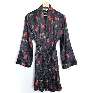 Victoria's Secret | Black Floral Silky Robe Kimono
